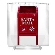 Santa Red Mail Box Shower Curtain