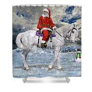 Santa Rides To Town Shower Curtain