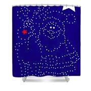 Santa Rudolph Stars Blue 2 Shower Curtain