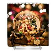 Santa Snow Globe Shower Curtain