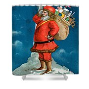 Santa Standing On The Globe Shower Curtain