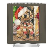 Santas Little Yelper Shower Curtain