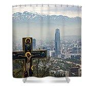 Santiago Chile Panoramic Shower Curtain