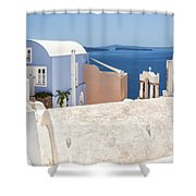 Santorini Blue House In Oia Shower Curtain