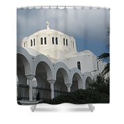 Santorini Church 2 Shower Curtain
