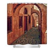 Santorini Courtyard Shower Curtain