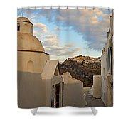 Santorini Dome Church Shower Curtain
