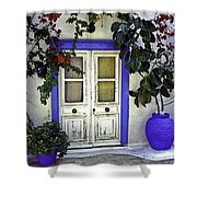 Santorini Doorway 1 Shower Curtain