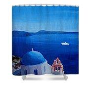 Santorini Greece View From Oia To Caldera Shower Curtain