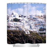 Santorini Hillside 2 Shower Curtain