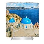 Santorini Oia Church Caldera View Digital Painting Shower Curtain