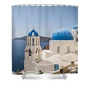 Santorini Oia Churches Stitched Panorama Shower Curtain