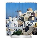 Santorini Oia Shower Curtain