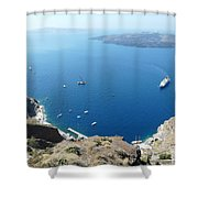 Santorini Old Port At Fira Shower Curtain