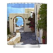 Santorini Pathway Shower Curtain