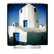 Santorini Silo With Border Shower Curtain