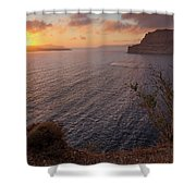 Santorini Sunset Caldera Shower Curtain
