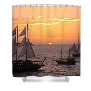 Santorini Sunset Sails Shower Curtain