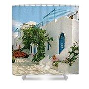 Santorini Villa Shower Curtain