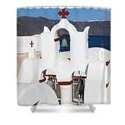 Santorini White Shower Curtain