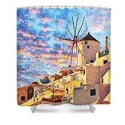 Santorini Windmill At Oia Digital Painting Shower Curtain