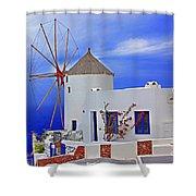 Santorini Windmills Shower Curtain