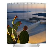 Santorini.fira Sunset Shower Curtain