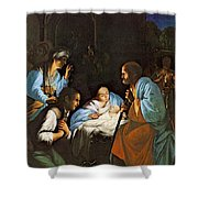 Saraceni Carlo The Birth Of Christ Shower Curtain