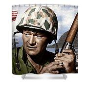 Sargent Stryker U S M C  Iwo Jima Shower Curtain