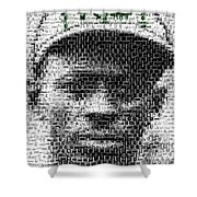 Satchel Paige Kc Monarchs African American Mosaic Shower Curtain by Paul Van Scott