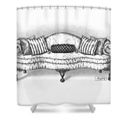 Satin Chippendale English Sofa Shower Curtain
