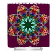 Satin Rainbow Fractal Flower II Shower Curtain