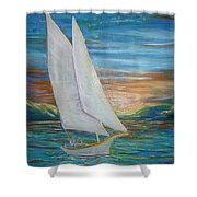 Saturday Sail Shower Curtain