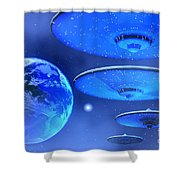 Saucers Shower Curtain by Corey Ford