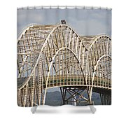 Sault Ste Marie International Bridge Arch Shower Curtain by Danielle Allard
