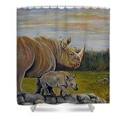 Savanna Overlook, Rhinoceros  Shower Curtain