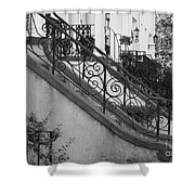 Savannah Stoops - Black And White Shower Curtain