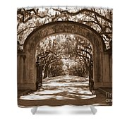 Savannaha Sepia - Wormsloe Plantation Gate Shower Curtain