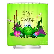 Save The Swamp Twitchy The Frog Shower Curtain