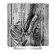 Sax French Horn And Trumpet Shower Curtain