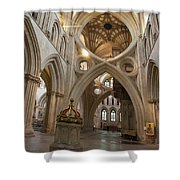 Saxon Baptismal Font Wells Cathedral, Somerset Uk Shower Curtain