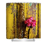 Saxophone And Roses On Wall Shower Curtain