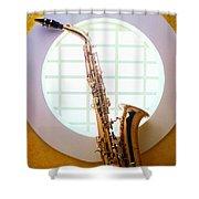Saxophone In Round Window Shower Curtain