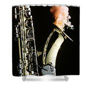 Saxophone With Smoke Shower Curtain by Garry Gay