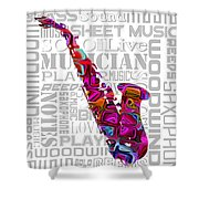 Saxophone With Word Background Shower Curtain