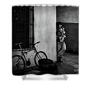 Saxophonist. Shower Curtain