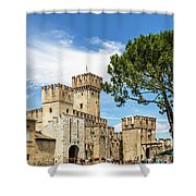 Scaligero Castle At The Entrence Of The Sirmione Medieval Town  Shower Curtain