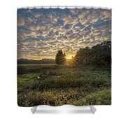 Scalloped Morning Skies Shower Curtain