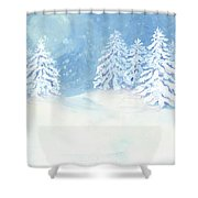 Scandinavian Winter Snowy Trees Hygge Shower Curtain