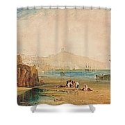 Scarborough Town And Castle Morning Boys Catching Crabs Shower Curtain